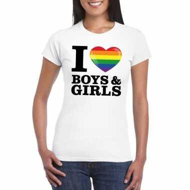 I love boys & girls regenboog t-shirt wit dames