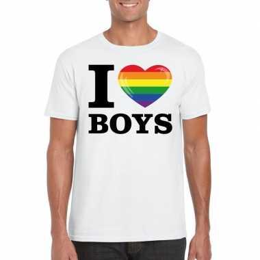 I love boys regenboog t-shirt wit heren