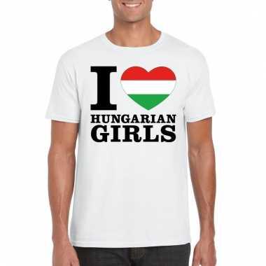 I love hungarian girls t-shirt wit heren