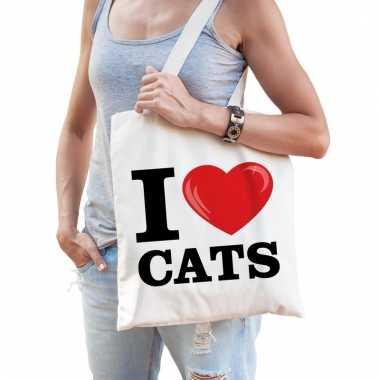 I love katten katoenen tasje