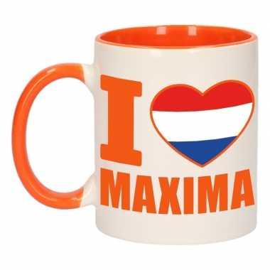 I love maxima mok/ beker oranje wit 300 ml