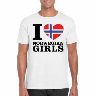I love norwegian girls t-shirt wit heren