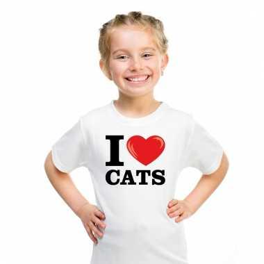 I love poezen t-shirt wit jongens en meisjes