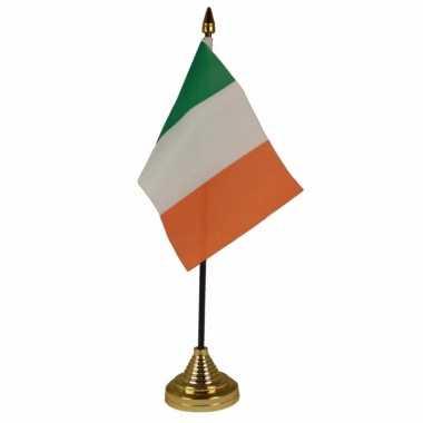 Ierland tafelvlaggetje 10 x 15 cm met standaard