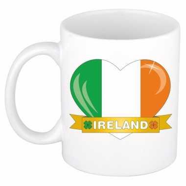 Ierse vlag hartje koffiemok 300 ml