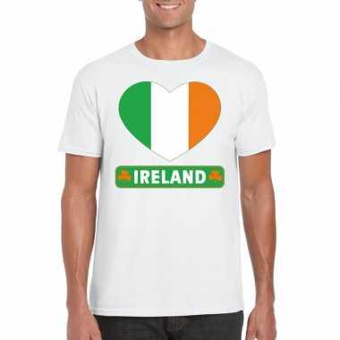 Ierse vlag in hartje shirt wit heren
