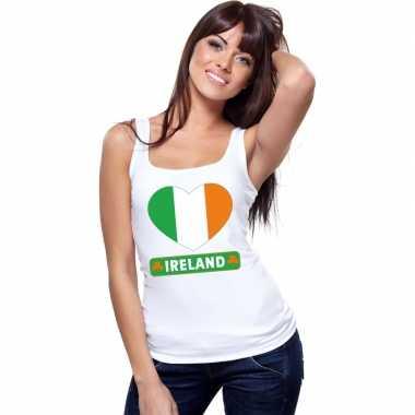 Ierse vlag in hartje singlet wit dames