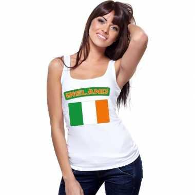 Ierse vlag singlet wit dames