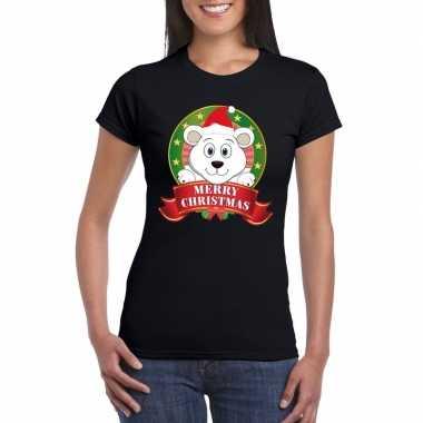 Ijsbeer kerst t-shirt zwart merry christmas voor dames