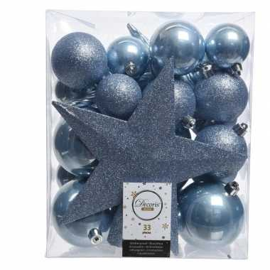Ijsblauw kerstballen pakket met piek 33 stuks