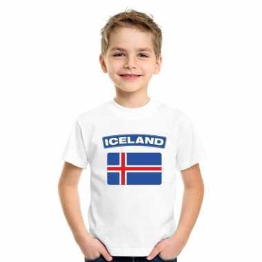 Ijslandse vlag kinder shirt wit