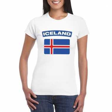 Ijslandse vlag shirt wit dames