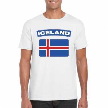 Ijslandse vlag shirt wit heren