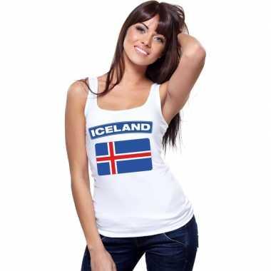 Ijslandse vlag singlet wit dames