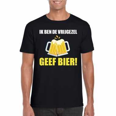 Ik ben de vrijgezel geef bier t-shirt zwart heren