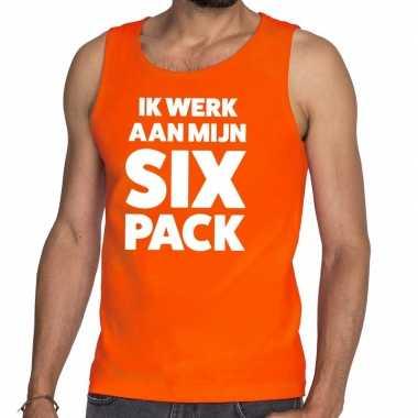 Ik werk aan mijn six pack tanktop / mouwloos shirt oranje heren