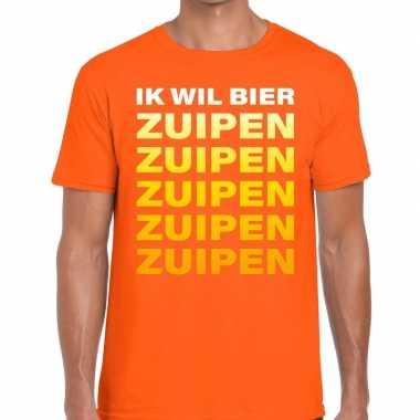 Ik wil bier zuipen tekst t-shirt oranje heren