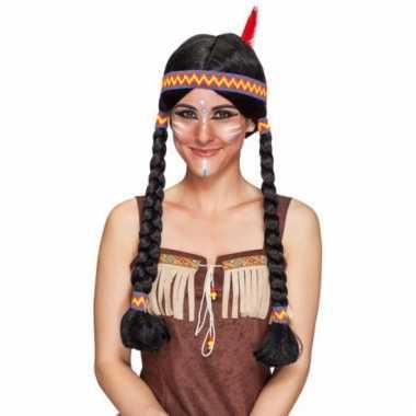 Indianen damespruik met vlechten