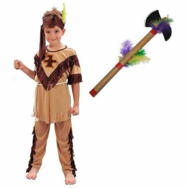 Indianen kostuum maat m met tomahawk voor kinderen