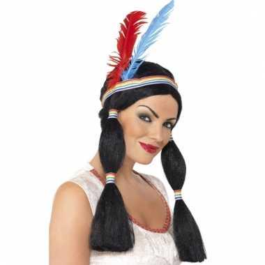 Indianen pruik dames met staartjes