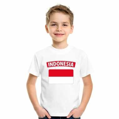Indonesische vlag kinder shirt wit