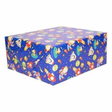 Inpakpapier blauw ruimte thema 200 x 70 cm