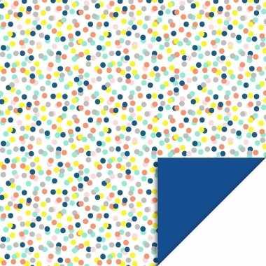 Inpakpapier/cadeaupapier confetti 200 x 70 cm gekleurd