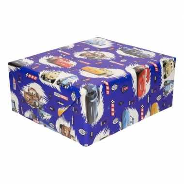 Inpakpapier/cadeaupapier disney cars 200 x 70 cm blauw