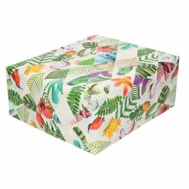 Inpakpapier/cadeaupapier tropische vogels en blad 200 x 70 cm