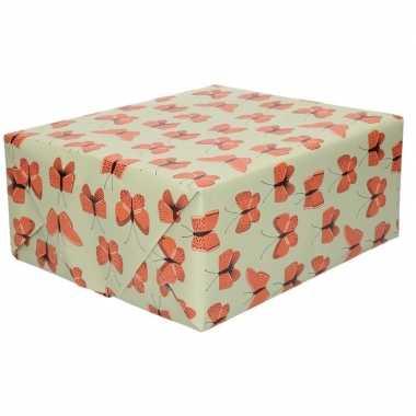Inpakpapier/cadeaupapier vlinder 200 x 70 cm groen/rood