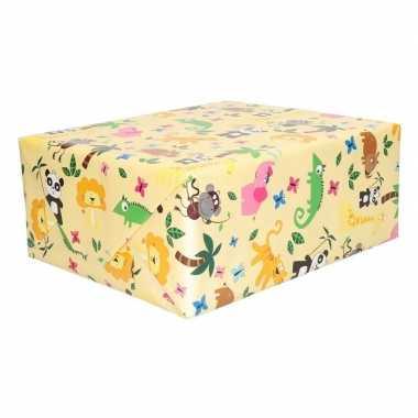 Inpakpapier geel met dieren 200 x 70 cm