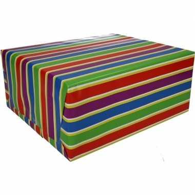 Inpakpapier met gekleurde strepen 200 x 70 cm op rol type 1