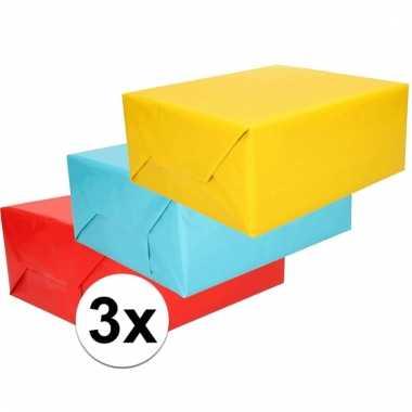 Inpakpapier pakket felle kleurtjes 3 rollen 70 x 200 cm