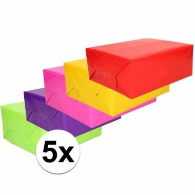 Inpakpapier pakket felle kleurtjes 5 rollen 70 x 200 cm