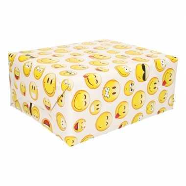 Inpakpapier wit emoji 200 x 70 cm op rol