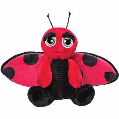 Insecten knuffels lieveheersbeestje zwart/rood 18 cm