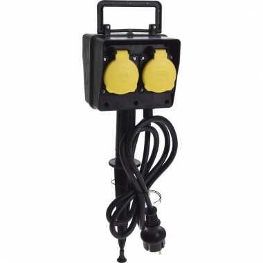 Ip44 tuinstekkerdoos 4 stopcontacten op paal outdoor