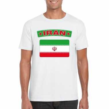 Iraanse vlag shirt wit heren