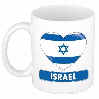 Israelische vlag hartje koffiemok 300 ml