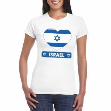 Israelische vlag in hartje shirt wit dames