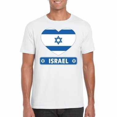 Israelische vlag in hartje shirt wit heren