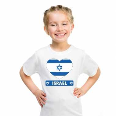 Israelische vlag in hartje shirt wit kind