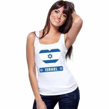 Israelische vlag in hartje singlet wit dames