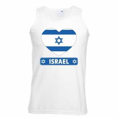 Israelische vlag in hartje singlet wit heren