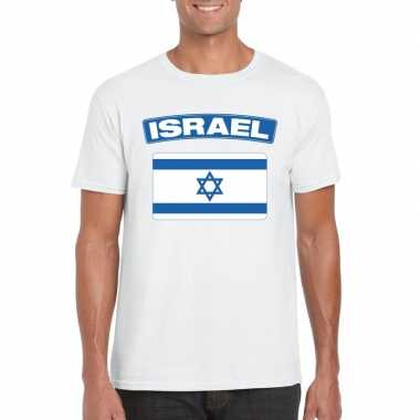 Israelische vlag shirt wit heren
