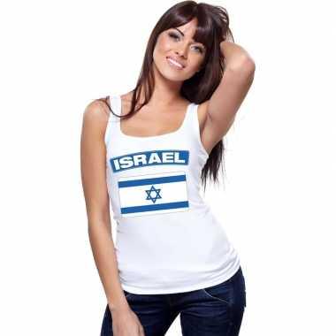 Israelische vlag singlet wit dames