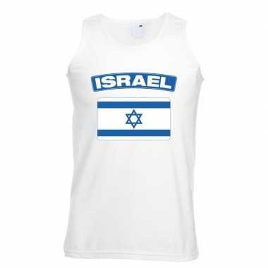 Israelische vlag singlet wit heren
