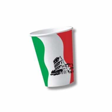 Italiaanse thema bekertjes van karton 10 st