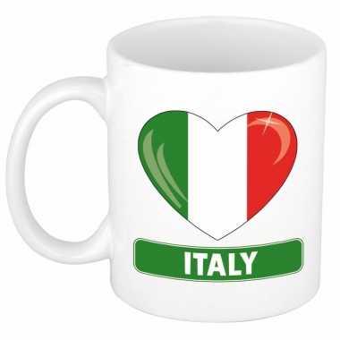 Italiaanse vlag hartje koffiemok 300 ml