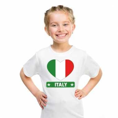 Italiaanse vlag in hartje shirt wit kind